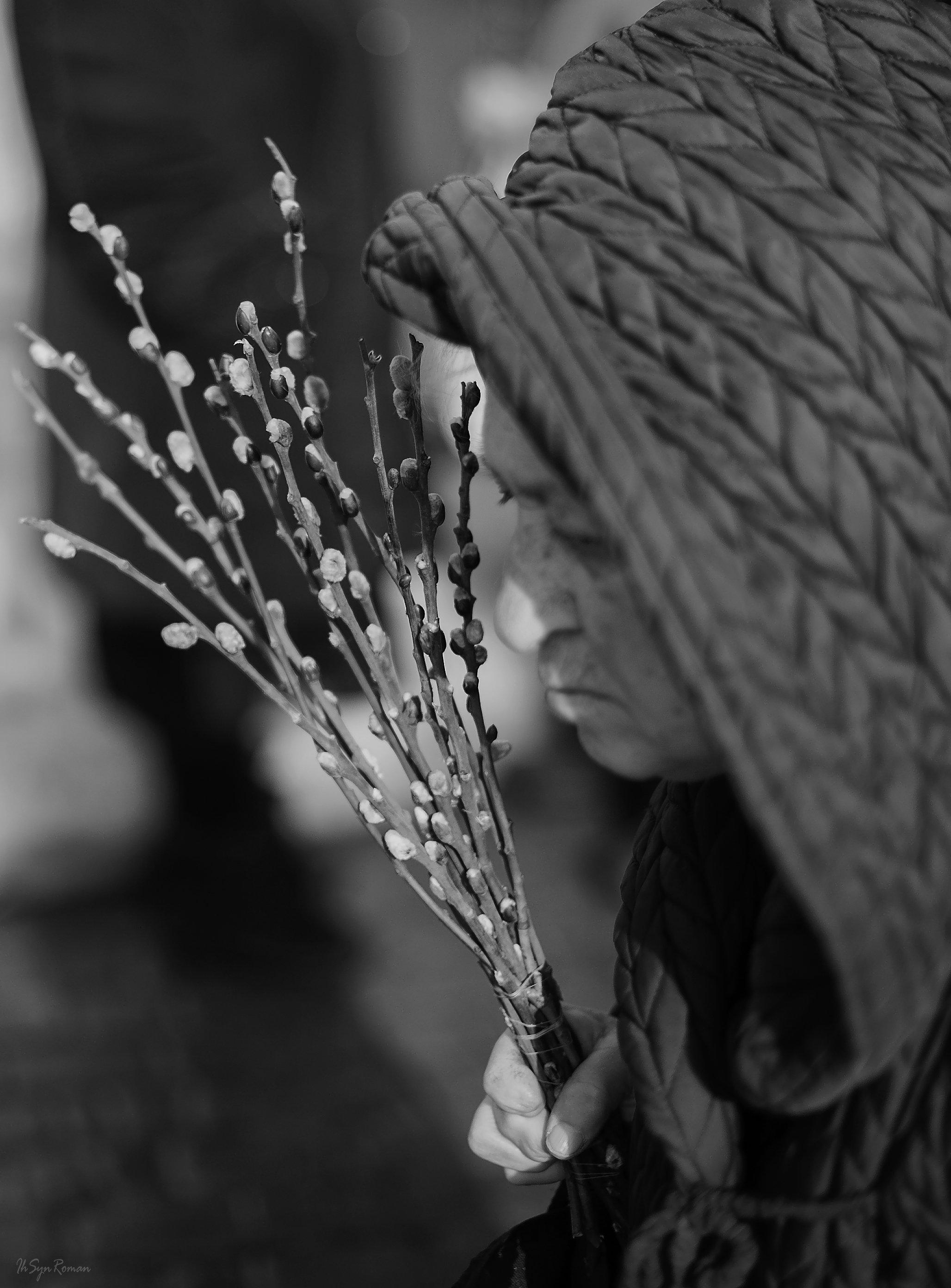 женщина,жанр,улица,букет,верба, Roma  Chitinskiy