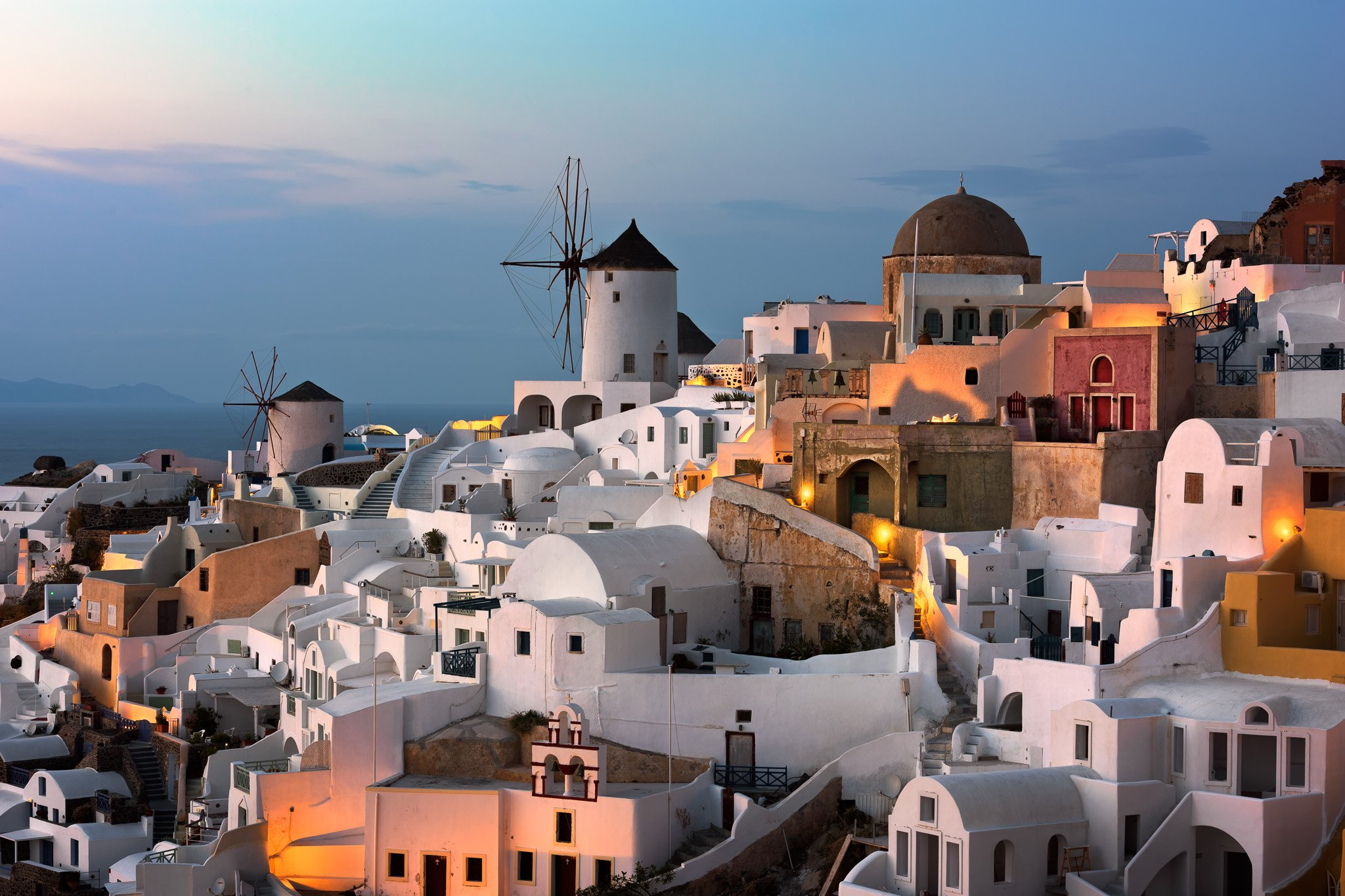 aegean, architecture, beautiful, blue, building, caldera, church, city, cityscape, cyclades, dome, dusk, europe, evening, famous, greece, greek, hellas, holiday, hotel, house, iconic, illuminated, island, landmark, landscape, lights, mediterranean, mill, , anshar
