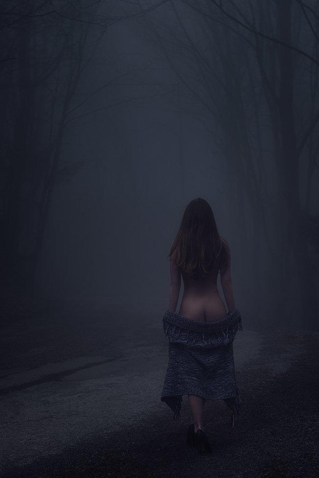 лес, девушка, туман, Вьюшкин Игорь