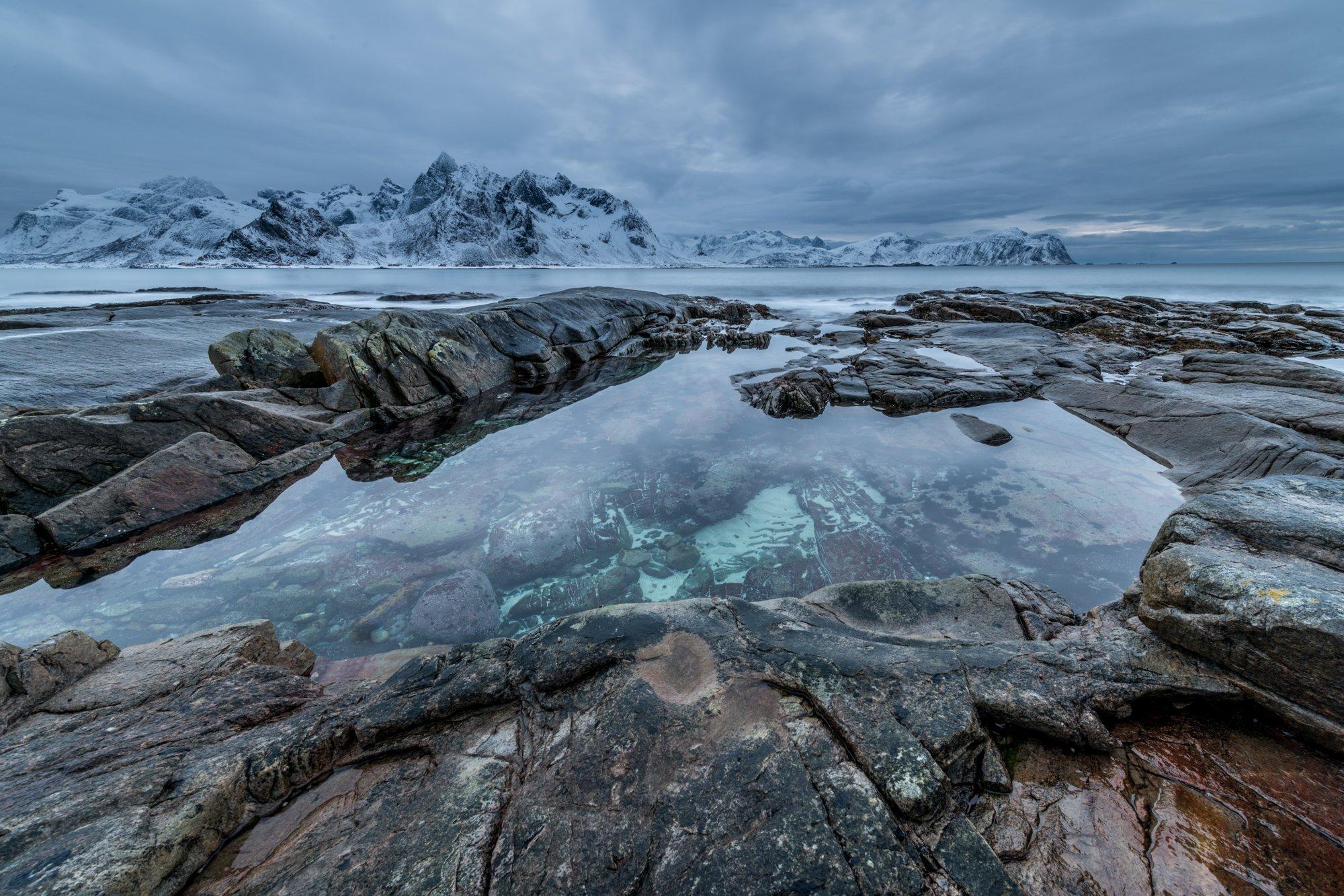 Lofoten, Sea, Winter, Water, Ice, Snow,, Arnfinn Malmedal