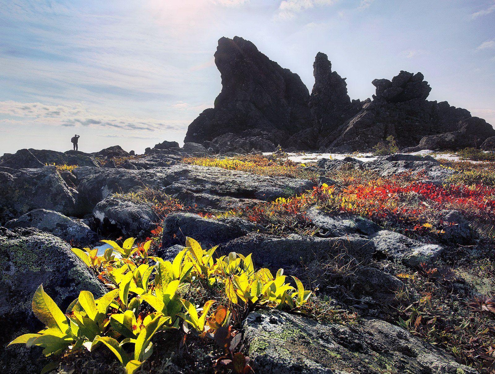 Осень, Урал, горы, скалы, Бродяга с севера