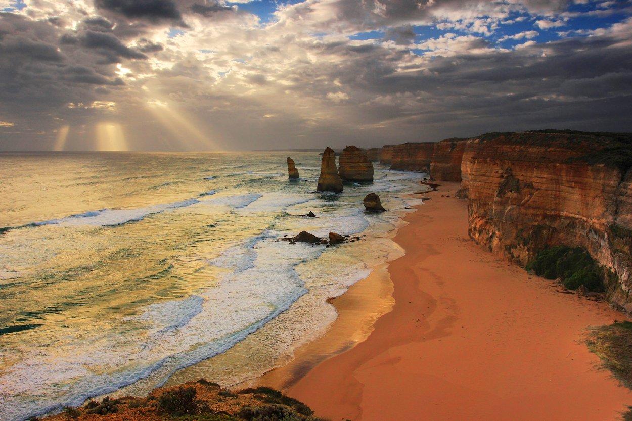 австралия, берег, 12 апостолов, великая океанская дорога, свет, океан, волны,  australia, сoast, 12 apostles, great ocean road, light, ocean, waves, Вера