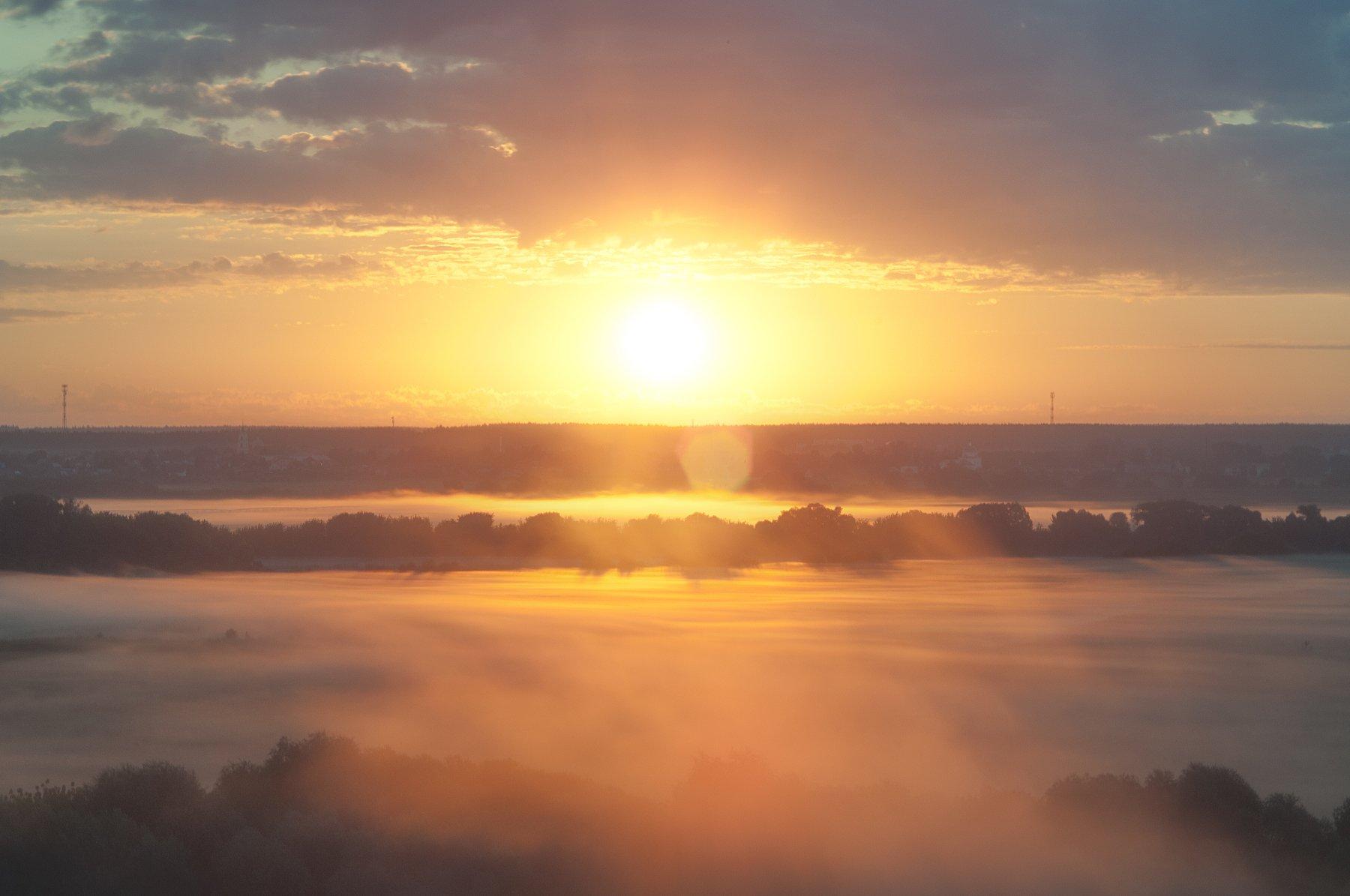 лето,россия,туман,восход,солнце,утро, Павел Ныриков