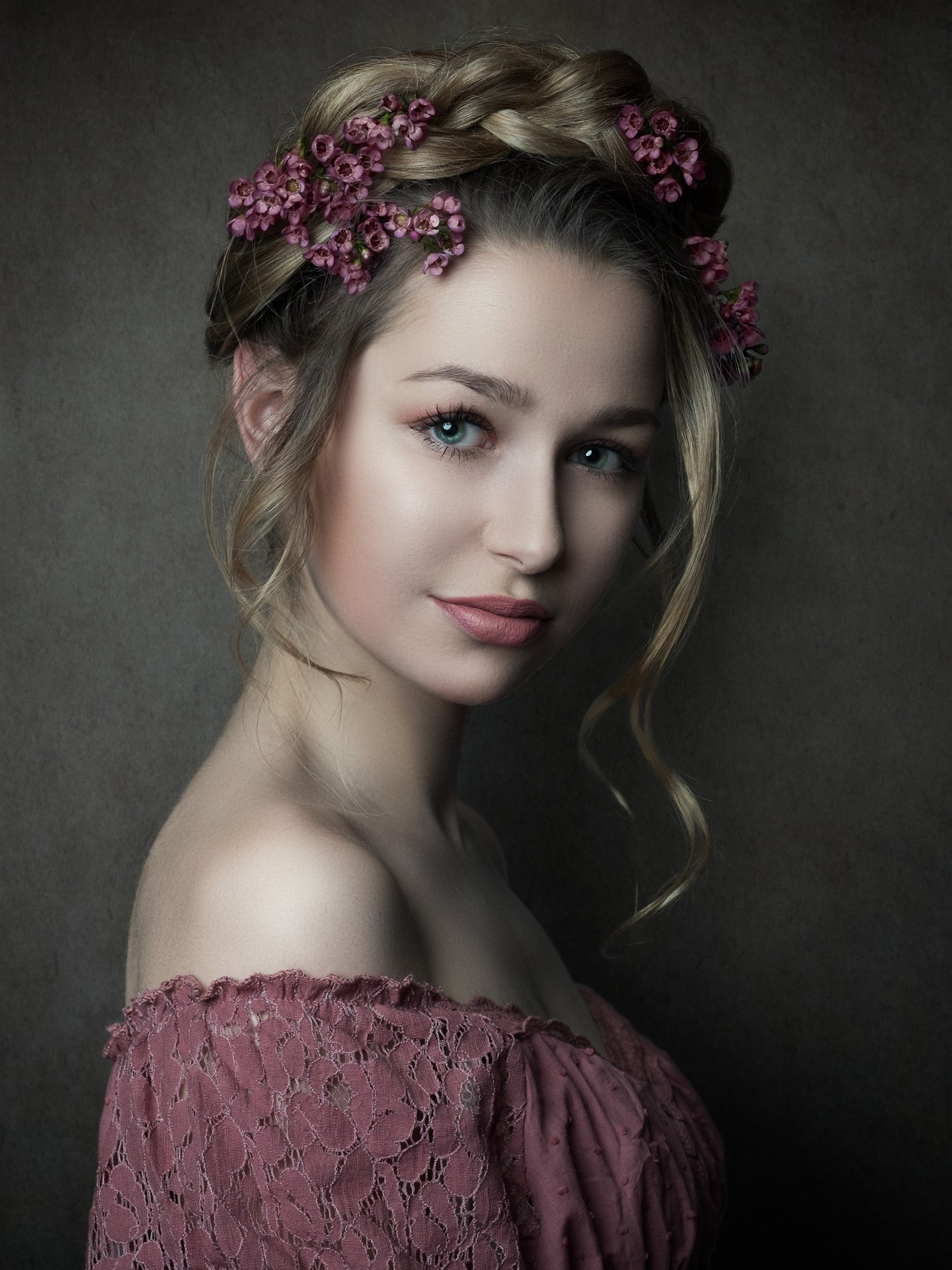 portrait, hairflowers, michael schnabl, woman, Michael Schnabl
