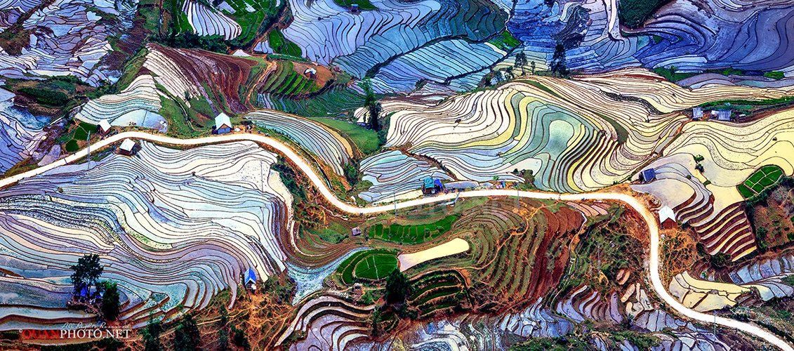 quanphoto, landscape, rice, terrace, flooded, colors, patterns, valley, farmland, vietnam, panorama, quanphoto