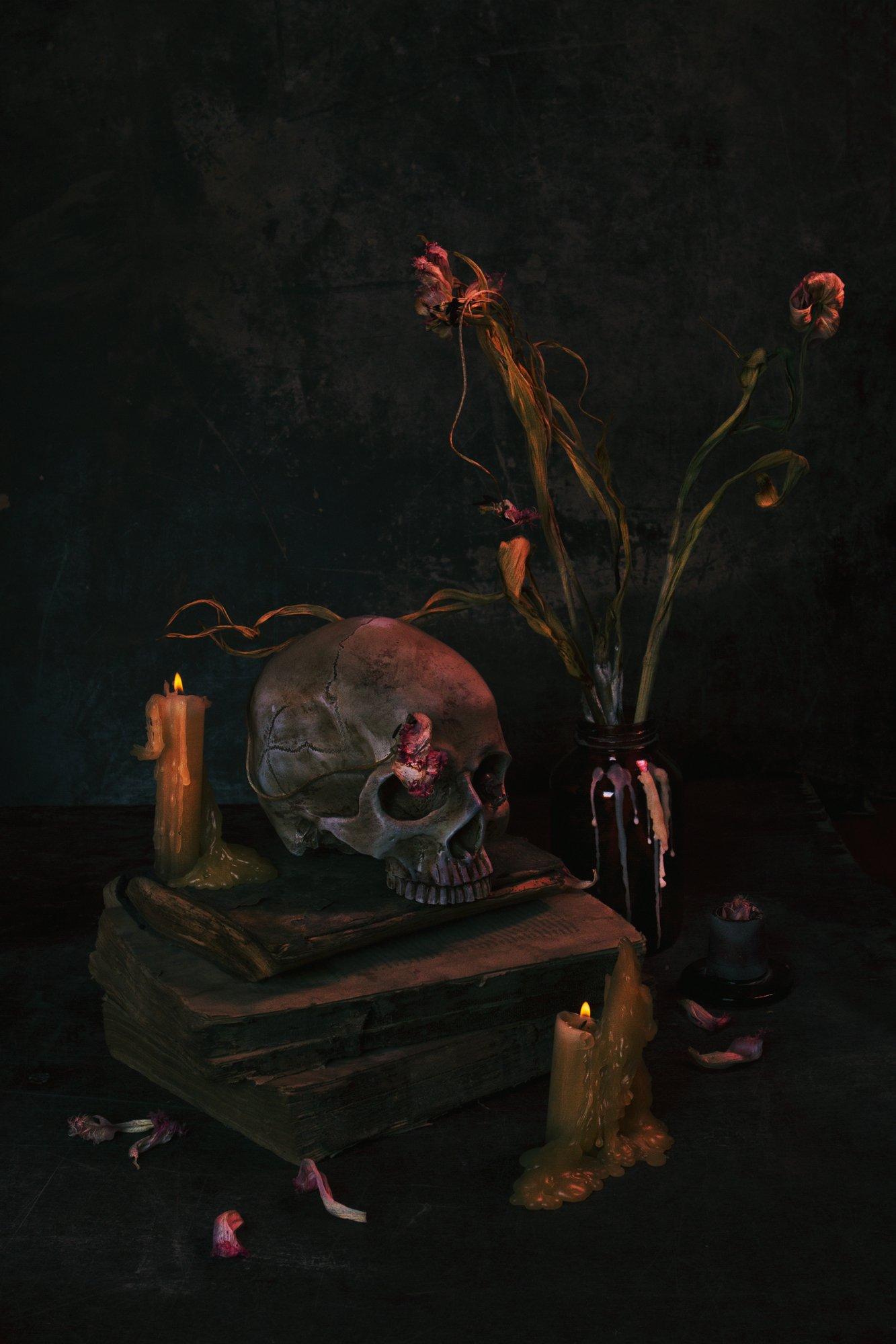 череп, цветы, тюльпаны, увядшие, натюрморт, жук, свеча, Наталья Голубева