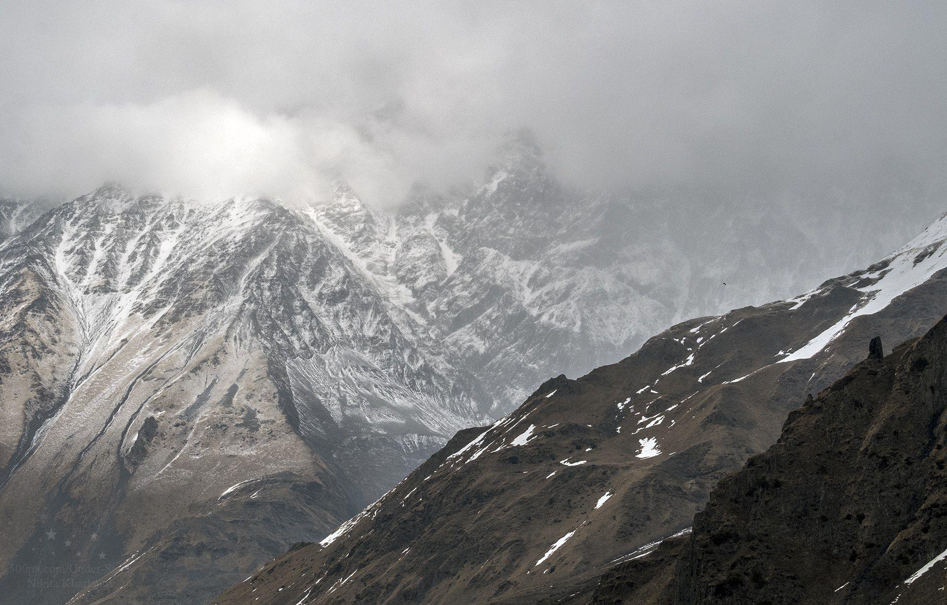 горы, грузия, казбеги, кавказ, облака, Харланов Никита