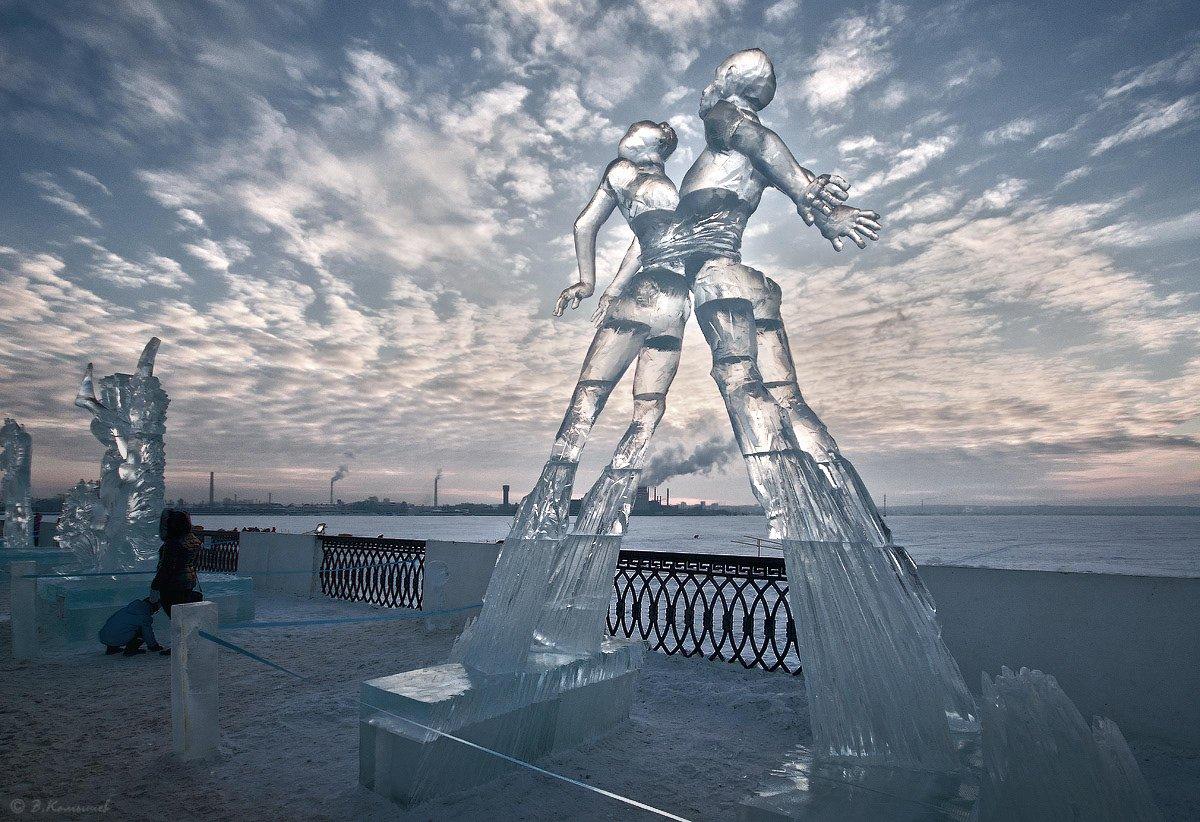 лёд, скульптура, зима, пейзаж, город, Владимир Комышев