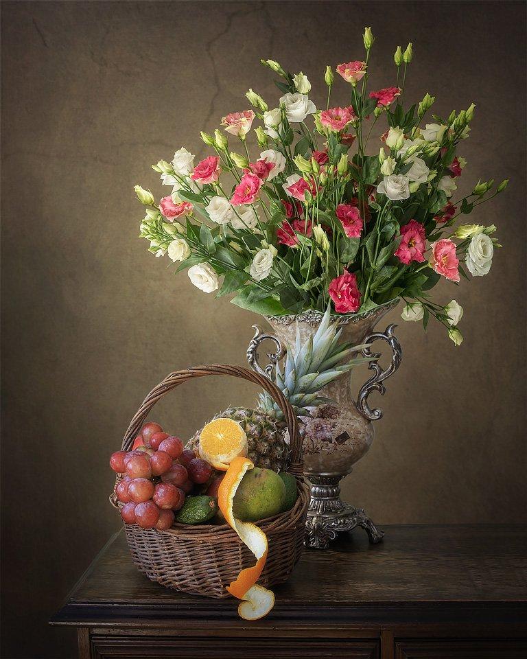 натюрморт, цветы, фрукты, корзина, букет, ваза, винтаж, Ирина Приходько