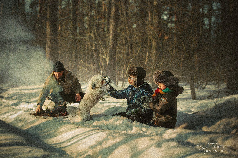 семья, зима, лес, природа, собака, дети, костер, отдых, Крупина Татьяна