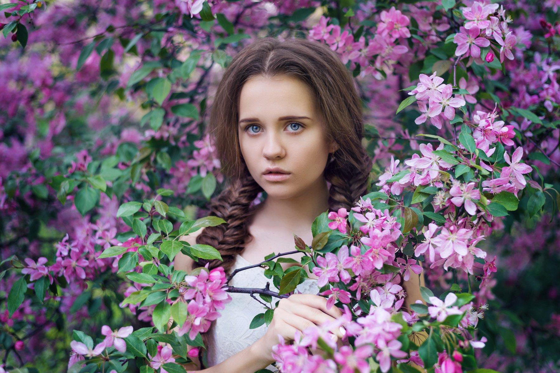 девушка, портрет, весна, цветение, яблони, Анастасия Добровольская