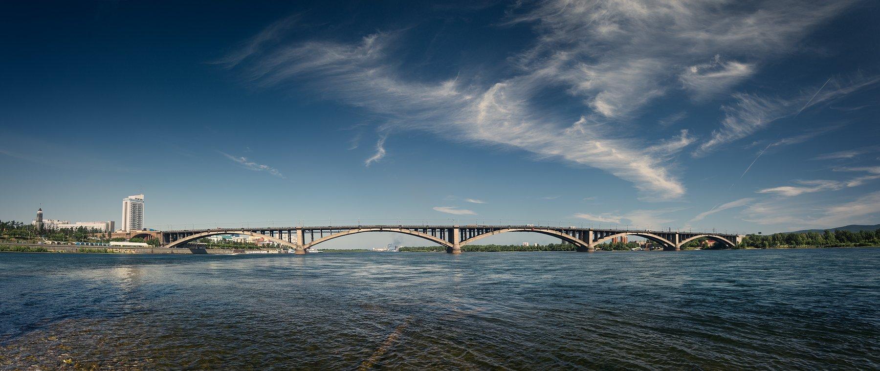 пейзаж, город, панорама, мост, река, енисей, красноярск, небо, облака, широкий, большой, Дмитрий Антипов