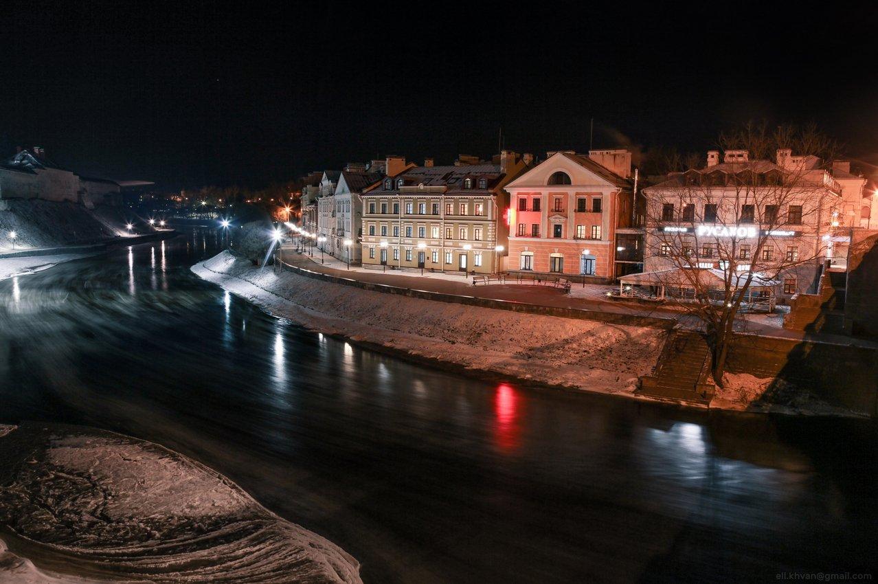 Псков, город, пейзаж, зима, вечер, Элина Хван