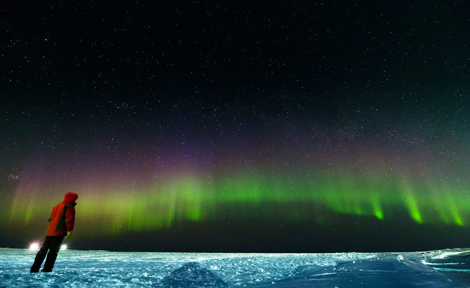 aurora borealis,, северное сияние, ночной пейзаж, север,, den-sau-pin