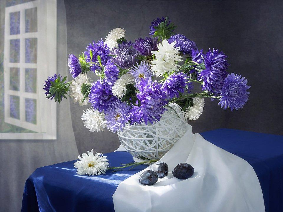 натюрморт, лето, август, букет, цветы, астры, Ирина Приходько