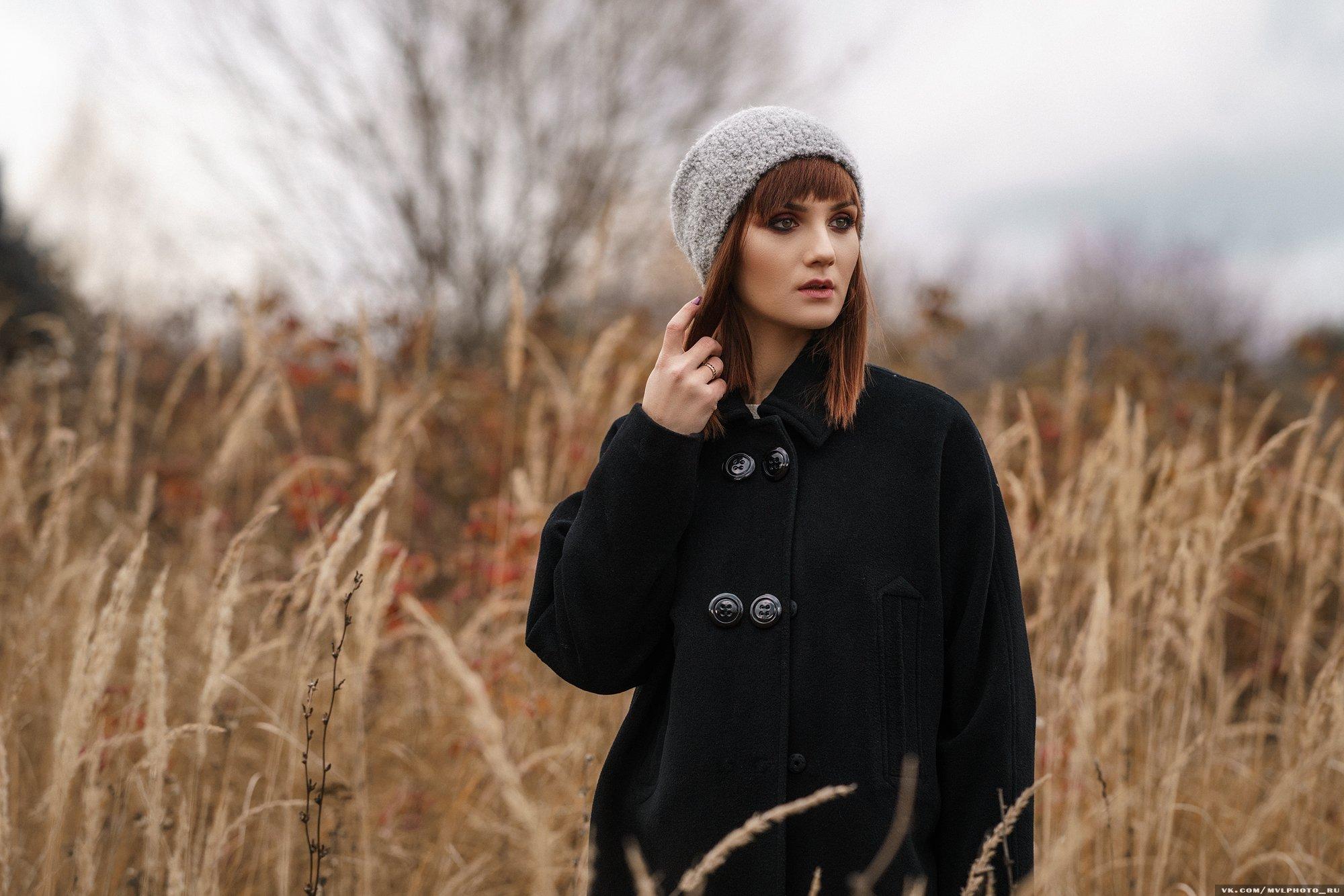 осень, поле, пальто, рыжая, девушка, трава, Вадим Миронов