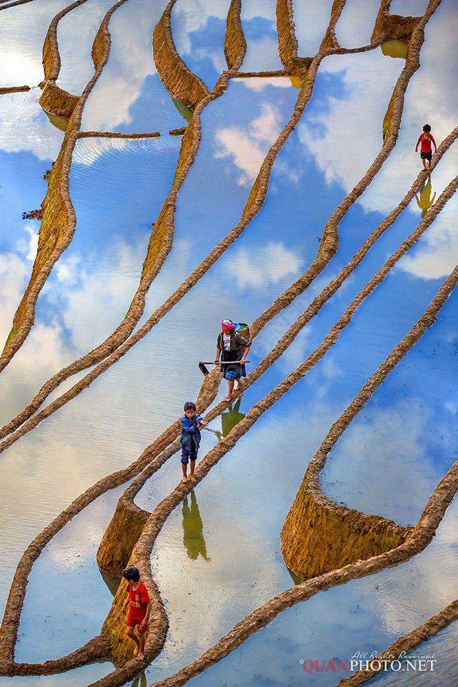 quanphoto, landscape, vertical, people, clouds, reflections, surface, farmland, agriculture, vietnam, rural, quanphoto
