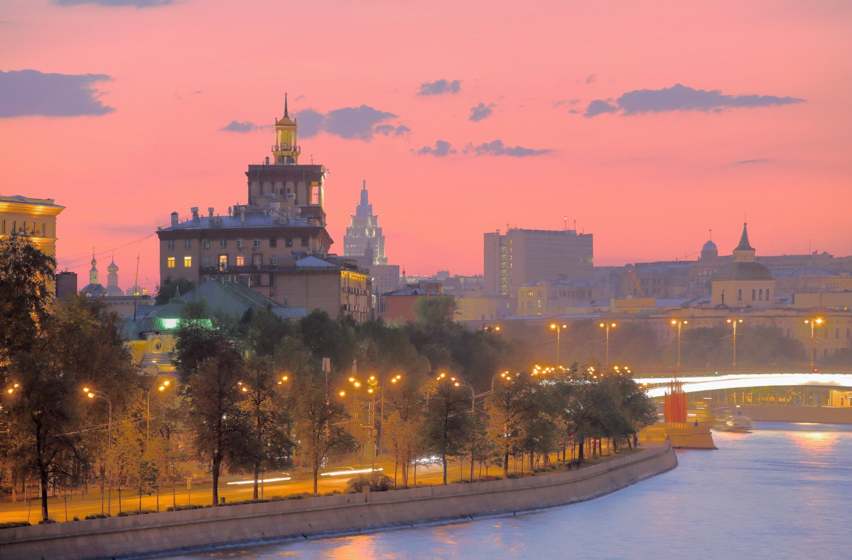 москва, вечер, река, закат, Виктор Климкин