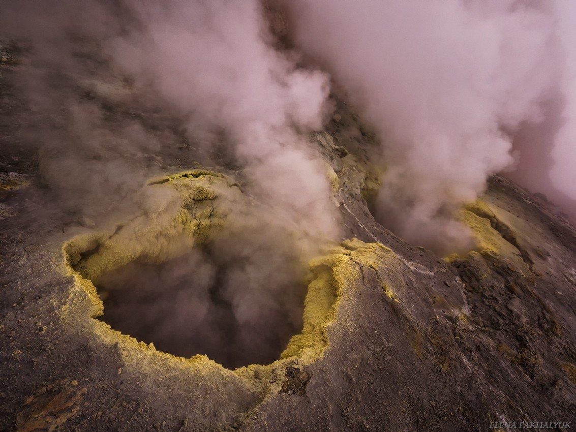 камчатка,россия,вулкан,фумарола,путешествие,фототур,мутновский,природа,пейзаж,кратер,день,дым,туман, пар, Elena Pakhalyuk