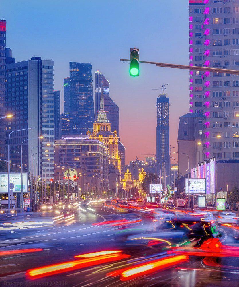 москва, вечер, закат, новый арбат, улица, движение, светофор, Виктор Климкин