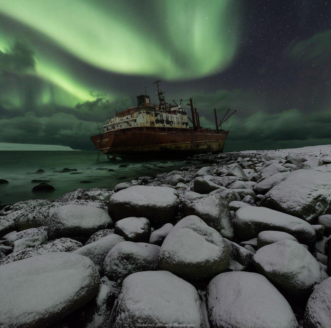 aurora borealis, aurora, полярные сияния, северное сияние, заполярье, побережье, кораблекрушение, север, ночь, Меркушев Александр