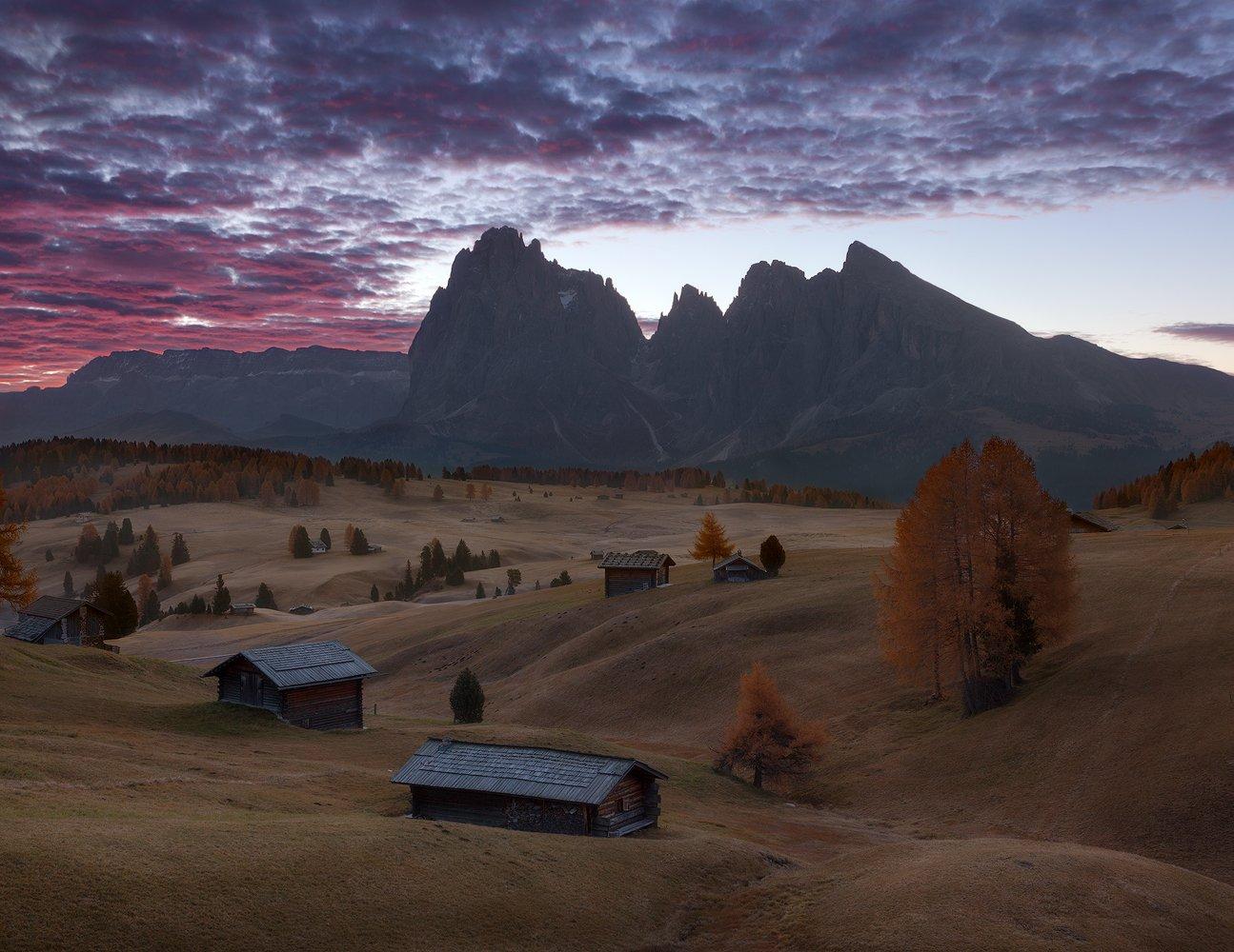 italy, alpe di siusi, seiser alm, sunrise, south tyrol, dolomites, südtirol, trentino-alto adige, Alex Yurko