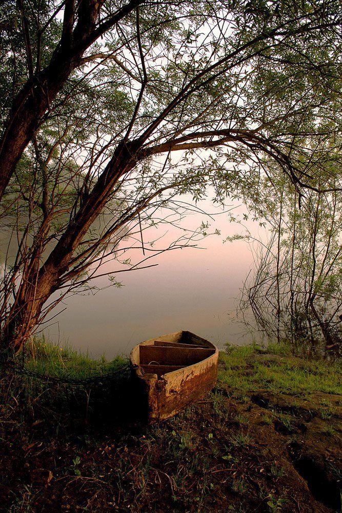 утро, река, лодка, Николай Морский