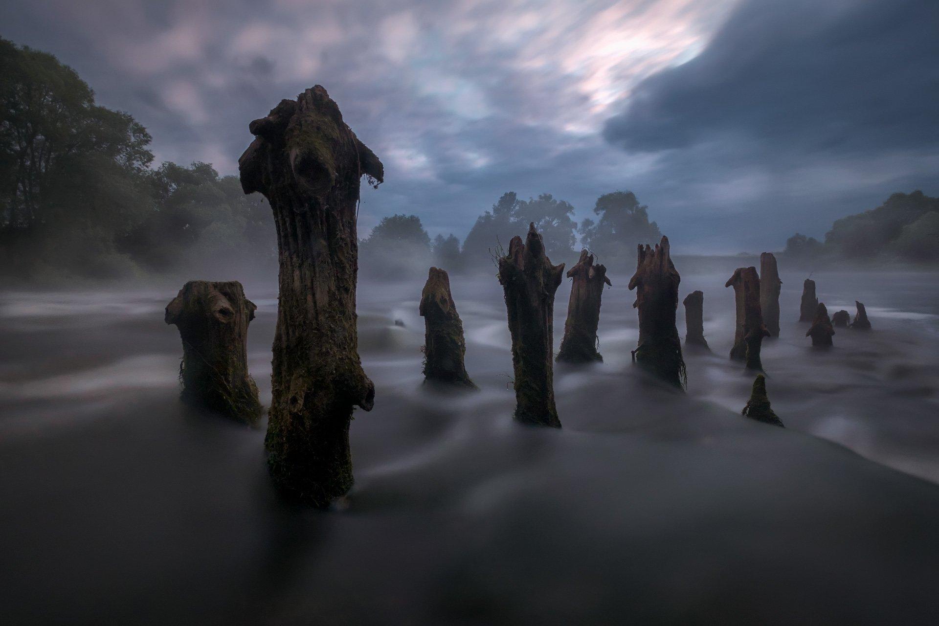 пейзаж, протва, юрятино, утро, рассвет, столбы, дамба, мельница, порог, вода, туман, longexpo, Андрей Чиж