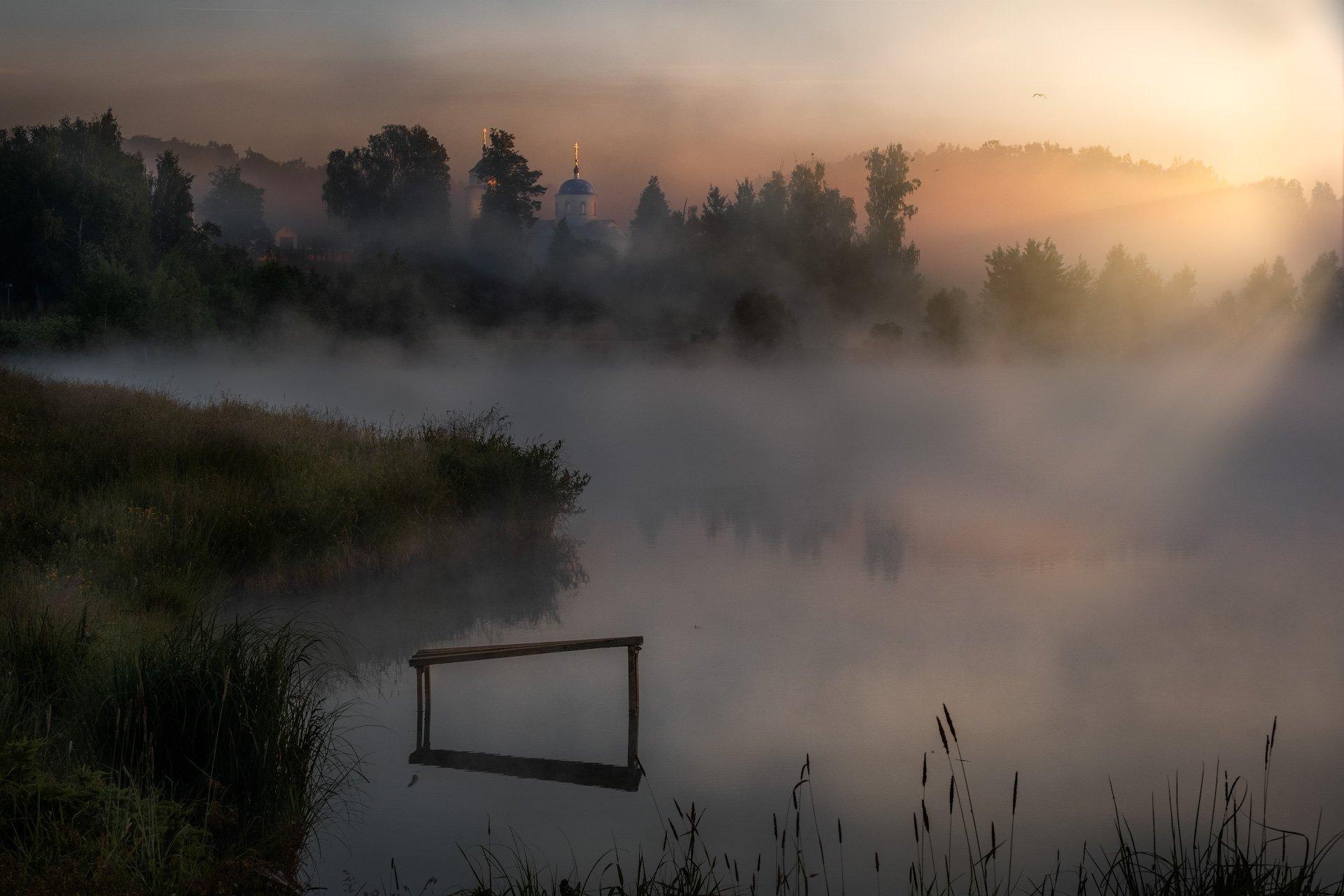 пейзаж, молокча, река, рассвет, церковь, туман, солнце, утро, Андрей Чиж