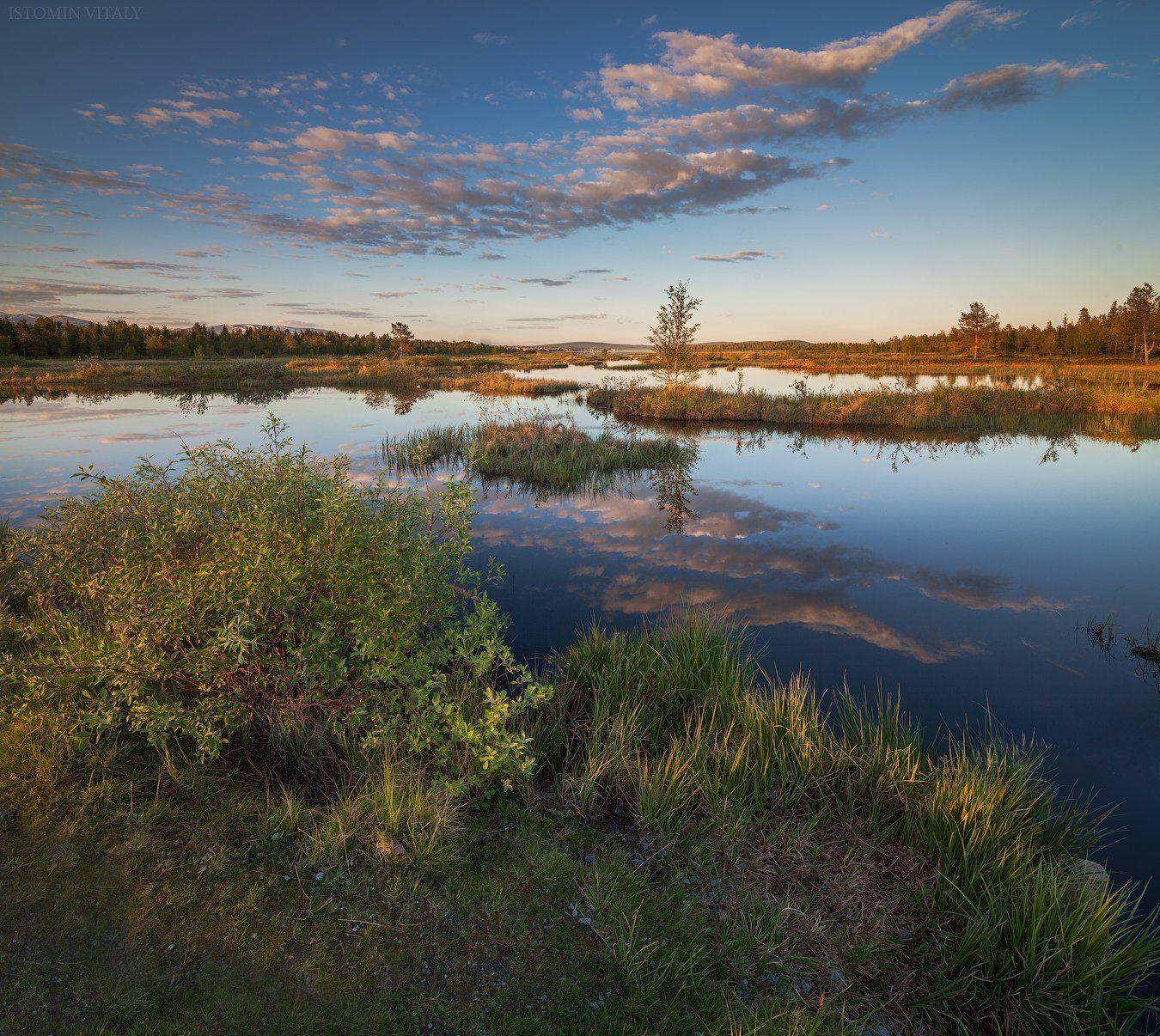 пейзаж,свет,россия,лето,хибины,кольский,отражение,вода,озеро,панорама,закат, Истомин Виталий