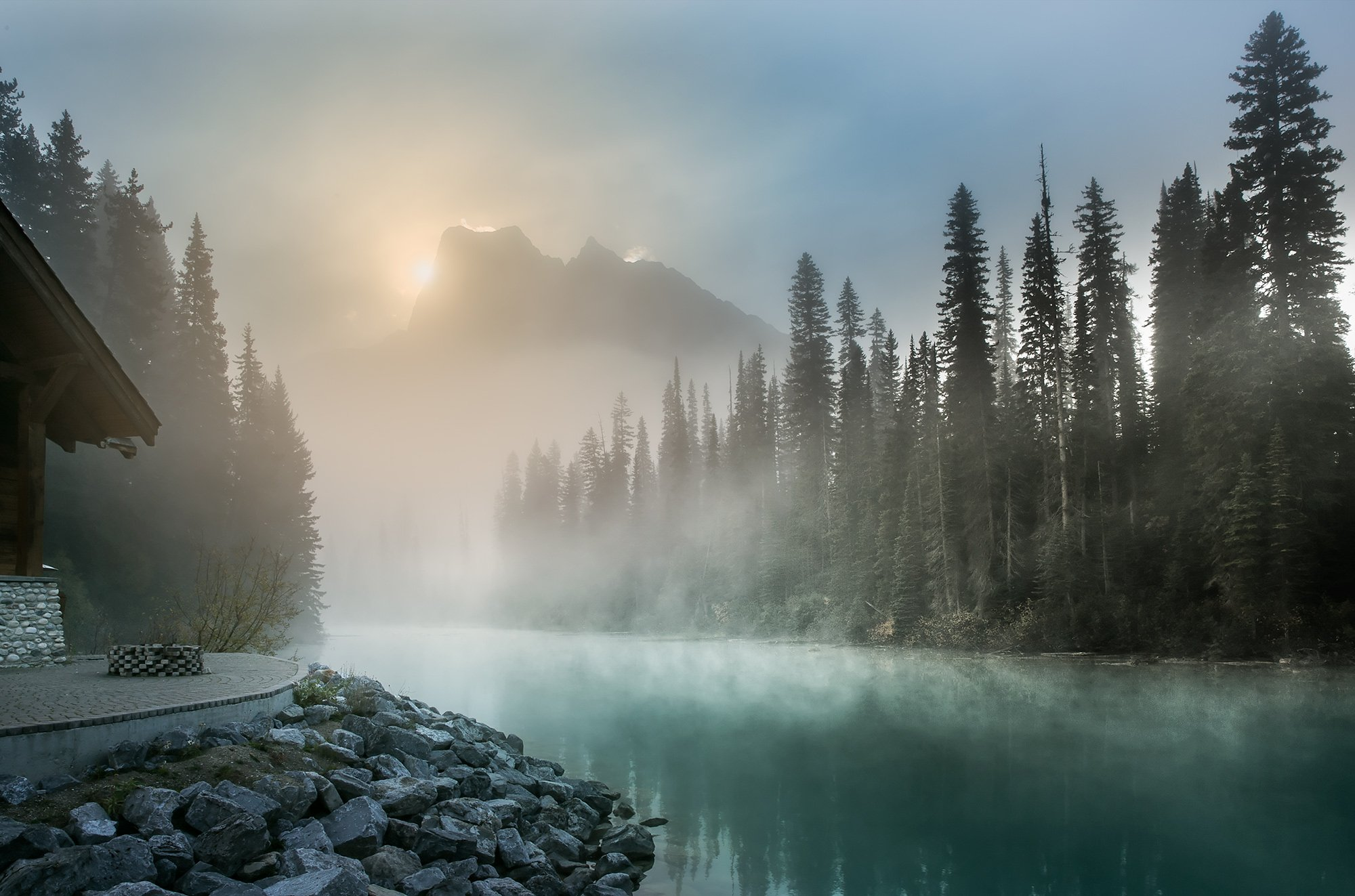 emerald rockies fog trees sun lake, Evgeny