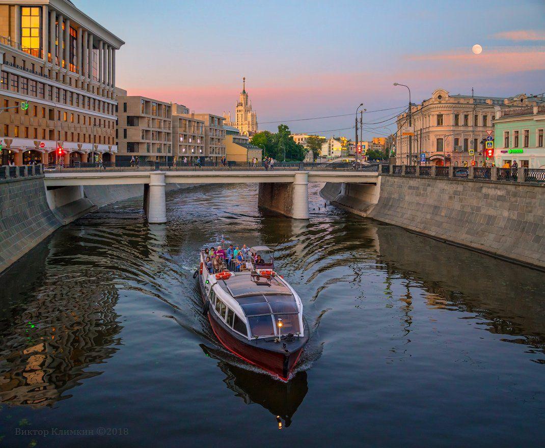 москва, вечер, канал, прогулка, теплоход, катер, Виктор Климкин