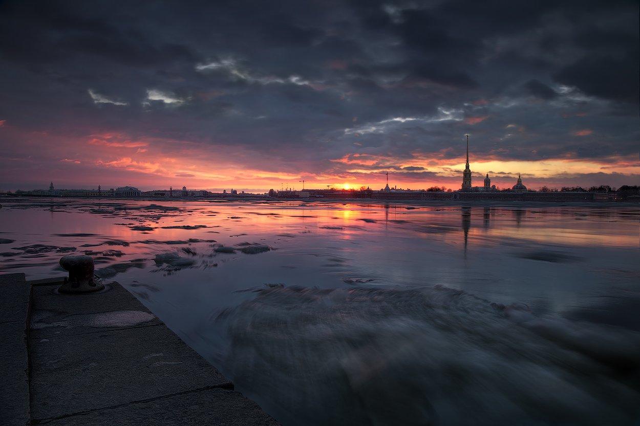 санкт-петербург, петропавловская, крепость, нева, закат, ледоход, EGRA : ЕГРА