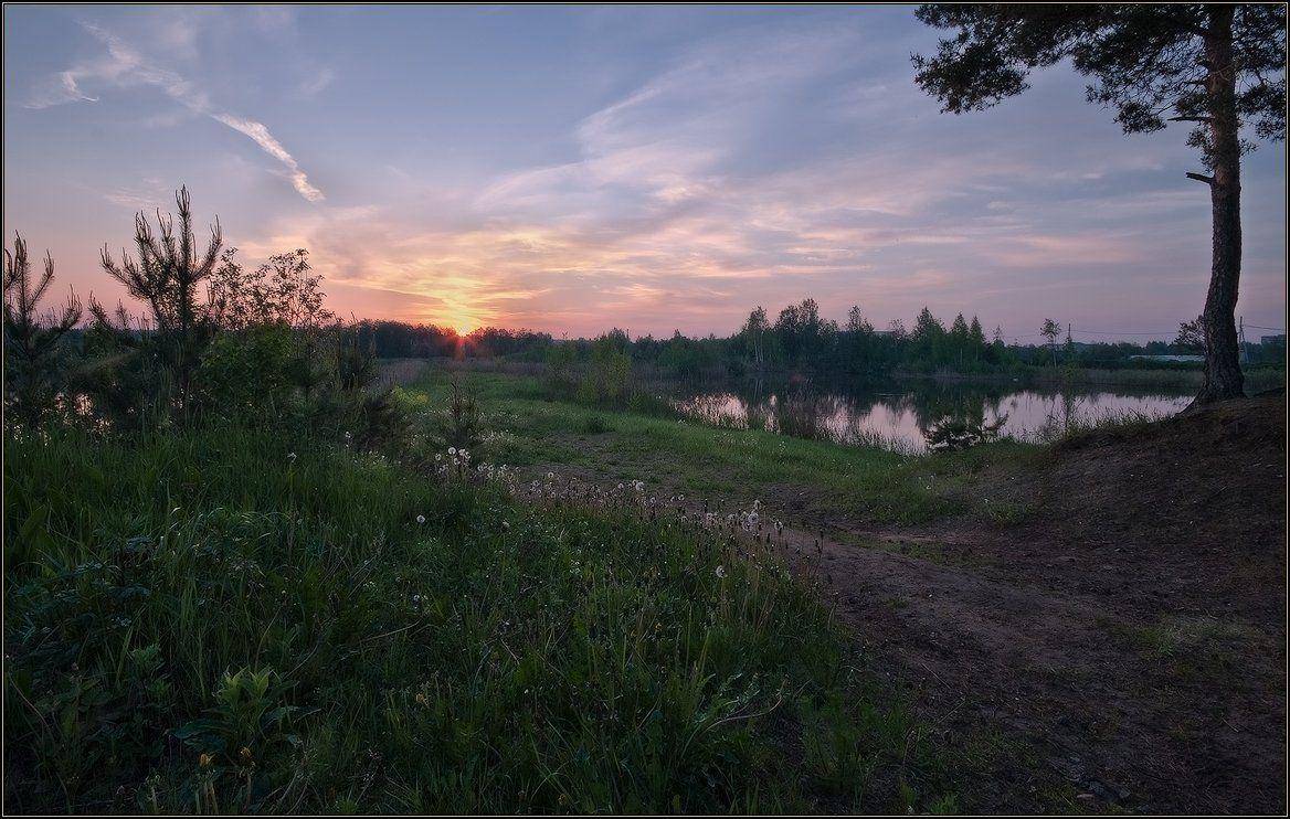 рассвет, озеро, лес, Иван