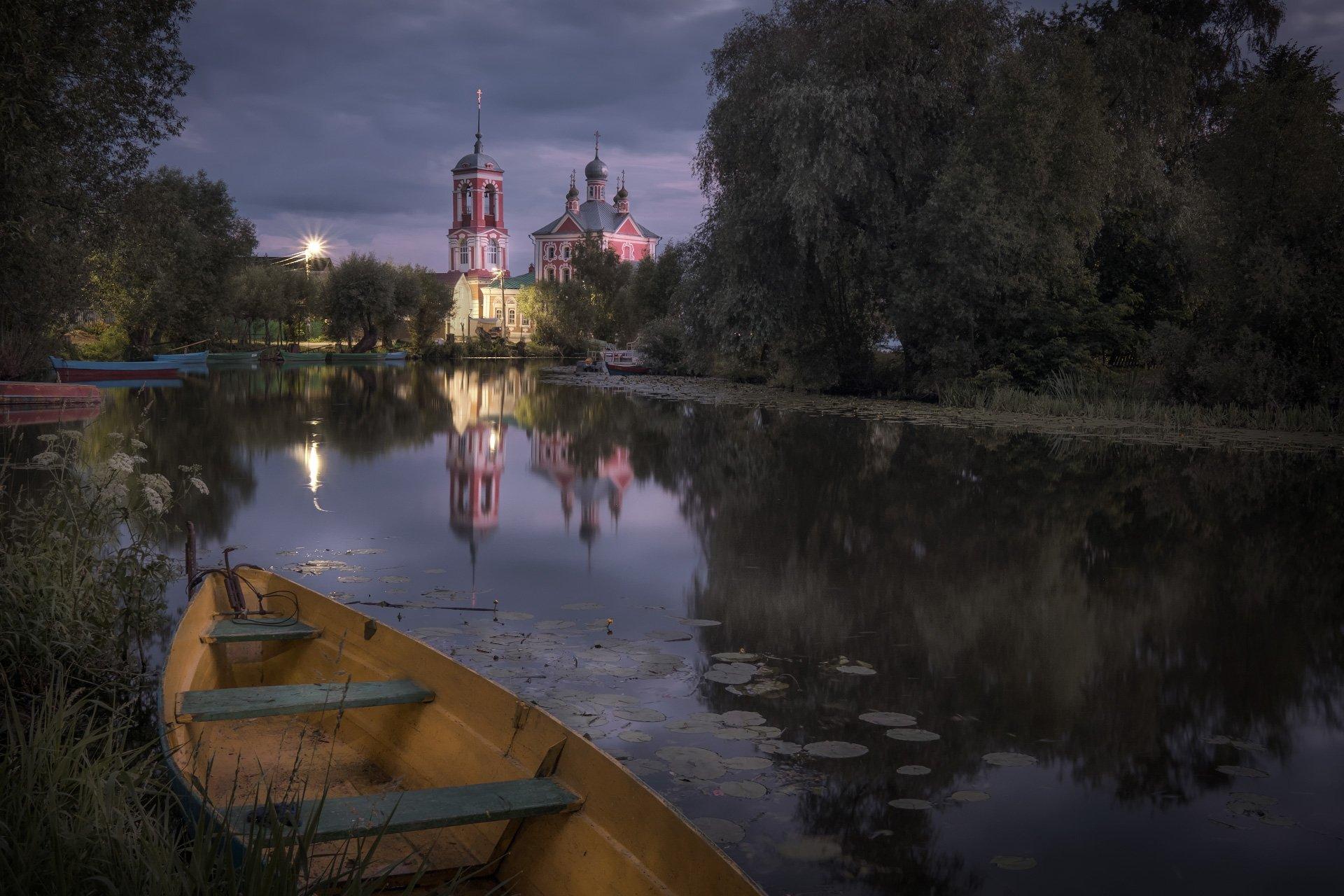 пейзаж, переславль, трубеж, устье, церковь, ночь, рассвет, Андрей Чиж