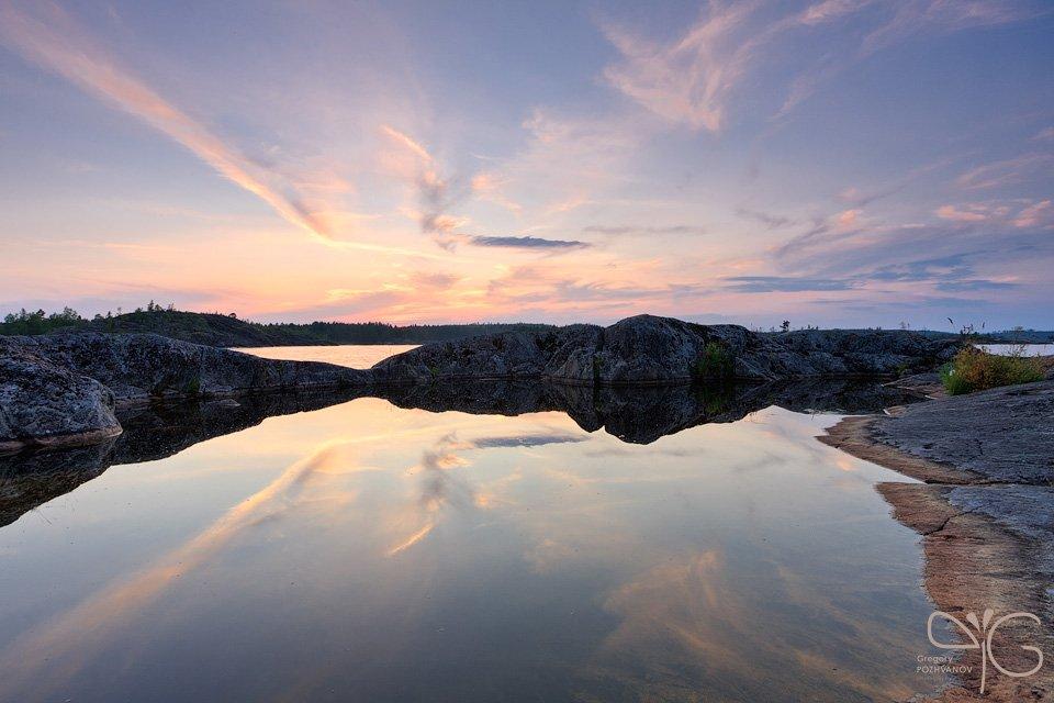esusaret, облака, отражение, закат, куркиниеми, ладога, есусарет, ladoga, lake, kurkiniemi, reflection, sunset, Григорий Пожванов