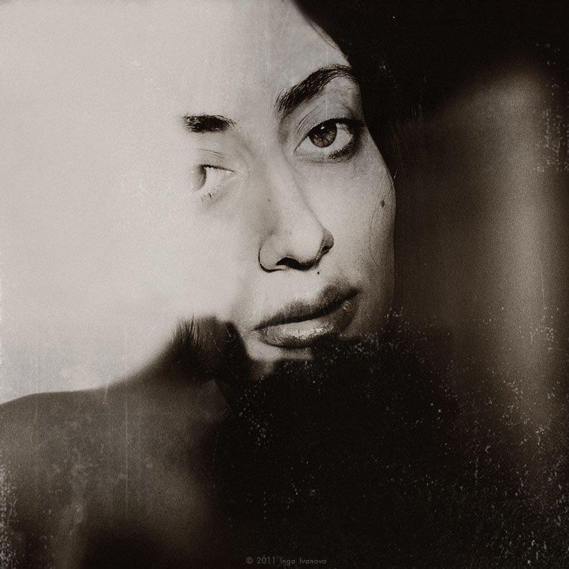 portrait, woman, eyes, lips, Inga Ivanova