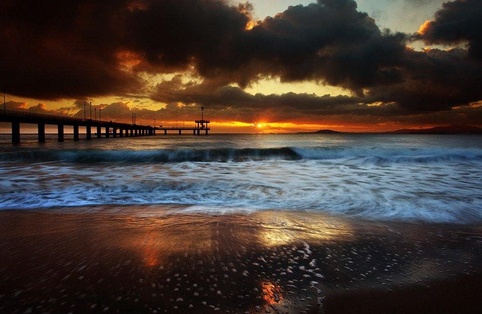 bridge, sea, wave, water, rocks, sand, sun, sky, sunrise, clouds, beach, coast,, Senna Ayd-Photographer