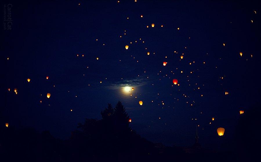sky, lantern, Пуш Женя