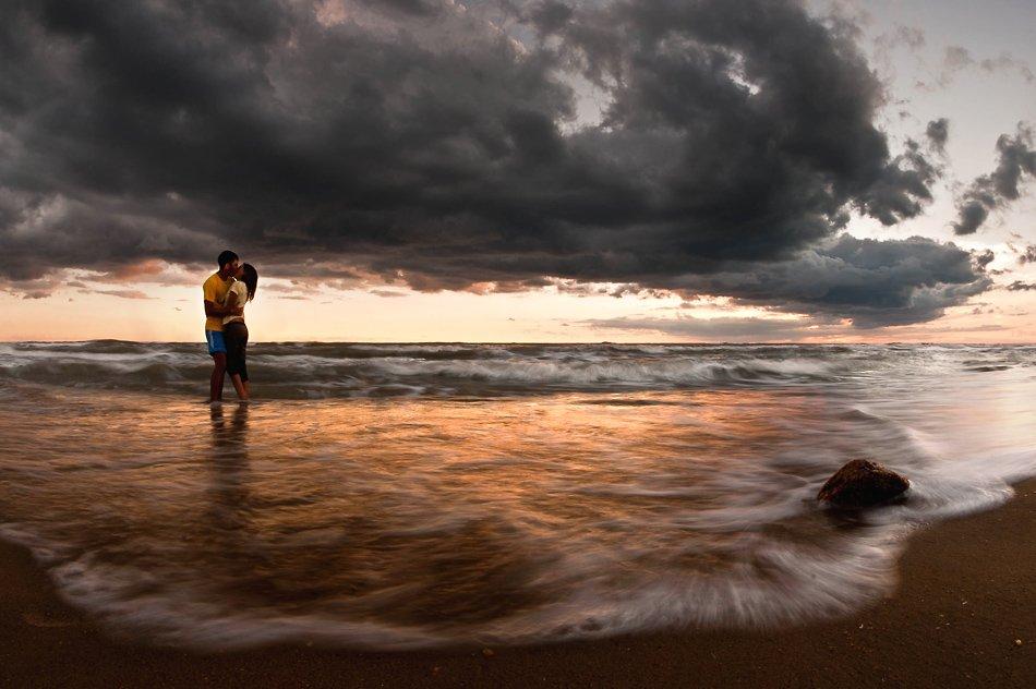 море, вечер, поцелуй, пара , двое, den-sau-pin