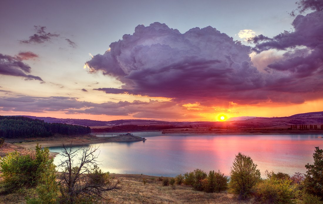 sunset, sun, water, lake, Иван Любенов