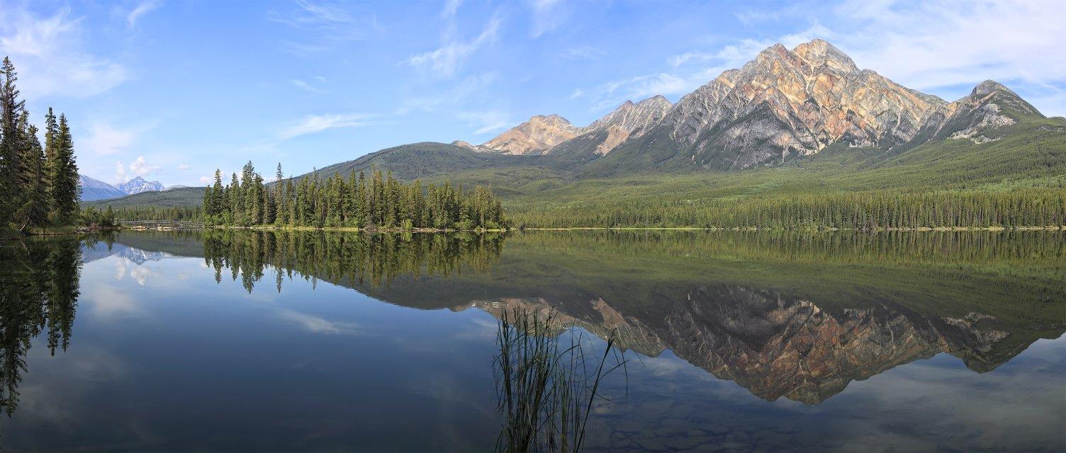 озеро, горы, отражения, лес, канада, альберта, Наталия Протасова