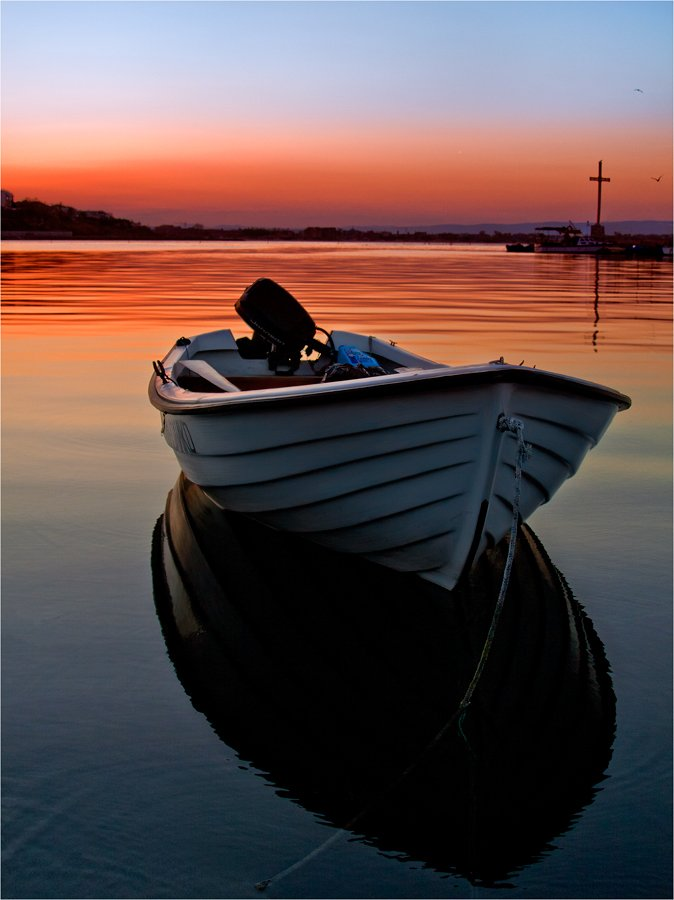 boat, sunset, see, sun, water, Иван Любенов