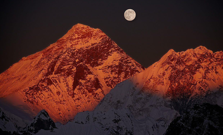 эверест, джомолунгма, закат, полнолуние, Ne Horoshiy