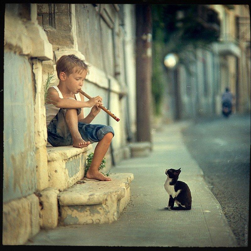 мальчик, дудочка, кот, кипр, улица, музыка, мелодия, слушать, играть, Владимир Зотов