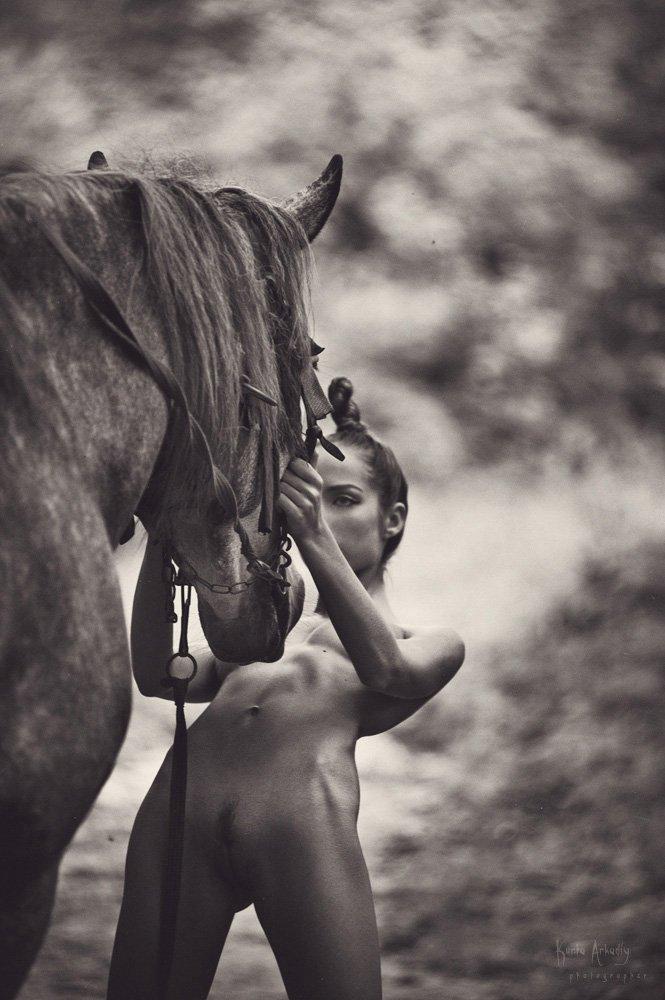 девушка, конь, эротика, узы, загадочный мир, Аркадий Курта