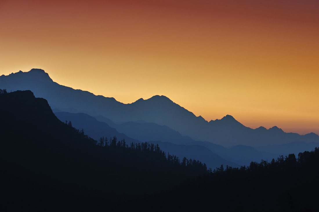 sunrise, nepal, mountains, silhouette, Vasiliy Ganzha