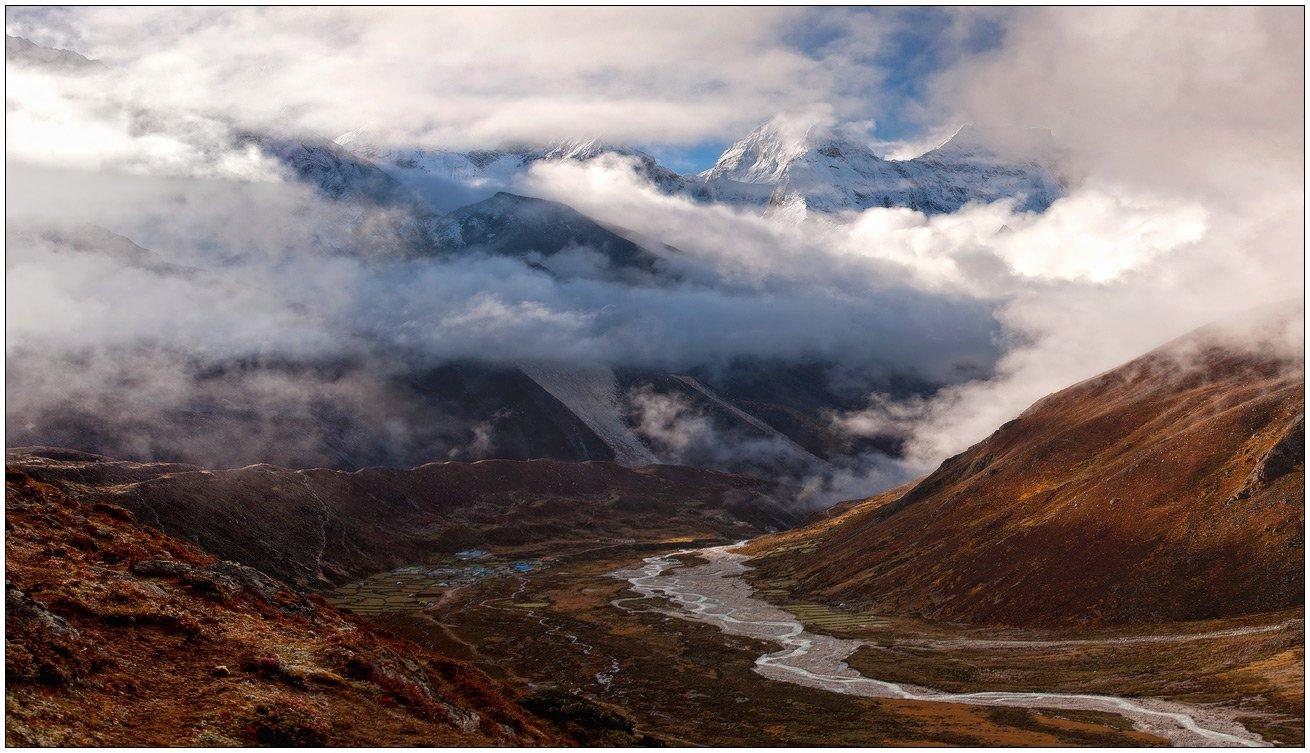 горы,горная деревня,река,долина,ледник,гималаи, trinitrotoluol