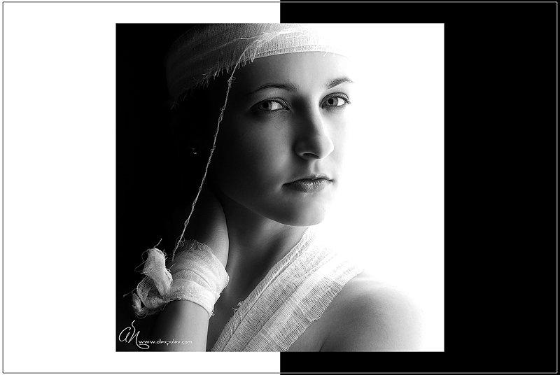 портрет,черное,белое,девушка, Александр Путев