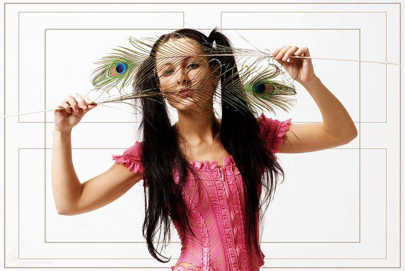 перья,павлин,глаза,девушка,студия,портфолио,розовое, Александр Путев